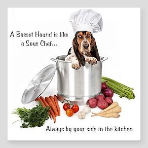 "Basset Hound Sous Chef Square Car Magnet 3"" x 3"""