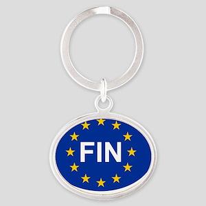 sticker FIN blue Oval Keychain
