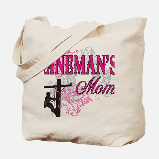 linemans mom white shirt with pole Tote Bag