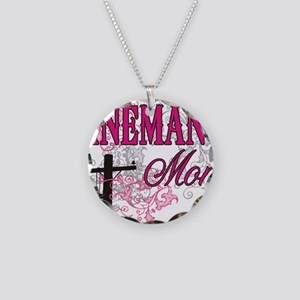 linemans mom white shirt wit Necklace Circle Charm