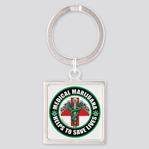 Medical-Marijuana-Helps-Saves-Live Square Keychain