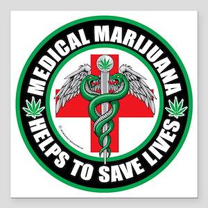 "Medical-Marijuana-Helps- Square Car Magnet 3"" x 3"""