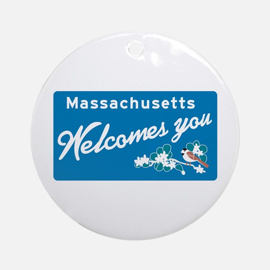 Welcome to Massachusetts - USA Ornament (Round)