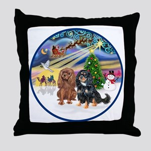 R-Xmas Magic - Two Cavaliers (R=BT2) Throw Pillow