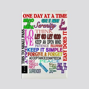 12 STEP SLOGANS IN COLOR Rectangle Magnet