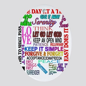 12 STEP SLOGANS IN COLOR Oval Ornament