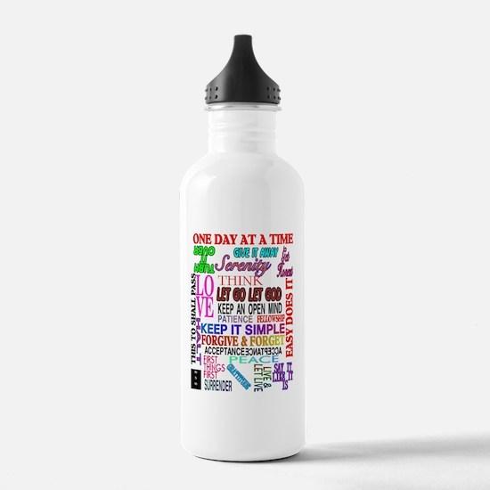 12 STEP SLOGANS IN COL Water Bottle