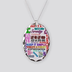 12 STEP SLOGANS IN COLOR Necklace Oval Charm