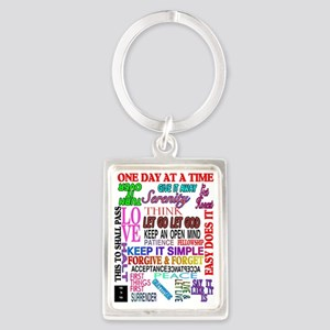 12 STEP SLOGANS IN COLOR Portrait Keychain