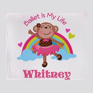 Personalized Ballet Dancer monkey Throw Blanket