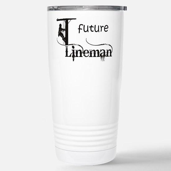 future lineman1_black Stainless Steel Travel Mug