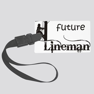 future lineman1_black Large Luggage Tag