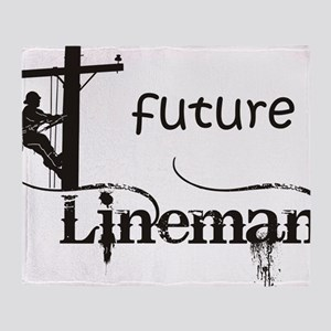 future lineman1_black Throw Blanket