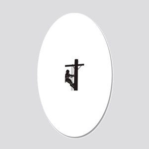 lineman silhouette 1_black 20x12 Oval Wall Decal
