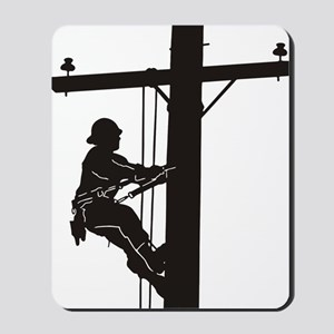 lineman silhouette 1_black Mousepad