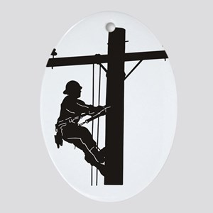 lineman silhouette 1_black Oval Ornament