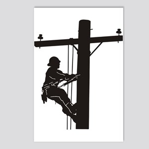 lineman silhouette 1_blac Postcards (Package of 8)