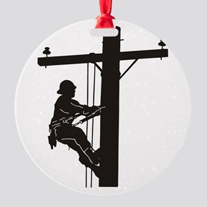 lineman silhouette 1_black Round Ornament