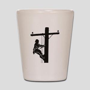 lineman silhouette 1_black Shot Glass