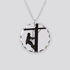 lineman silhouette 1_black Necklace Circle Charm