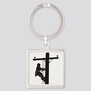 lineman silhouette 1_black Square Keychain