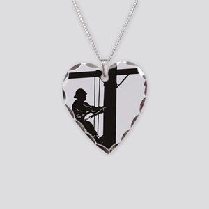 lineman silhouette 1_black Necklace Heart Charm