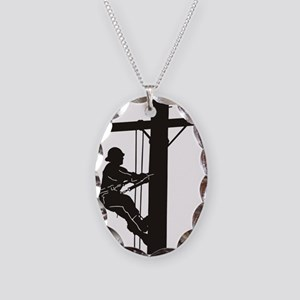 lineman silhouette 1_black Necklace Oval Charm