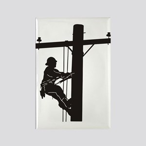 lineman silhouette 1_black Rectangle Magnet