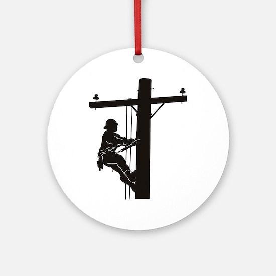 lineman silhouette 1_black Round Ornament