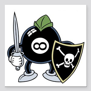 "8-ball-knight-DKT Square Car Magnet 3"" x 3"""