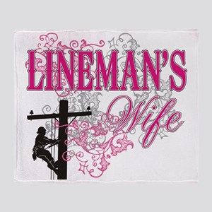 linemans wife3 white Throw Blanket