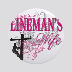 linemans wife3 white Round Ornament