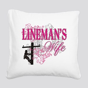 linemans wife3 white Square Canvas Pillow