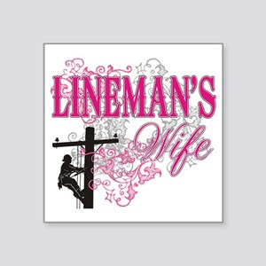 "linemans wife3 white Square Sticker 3"" x 3"""