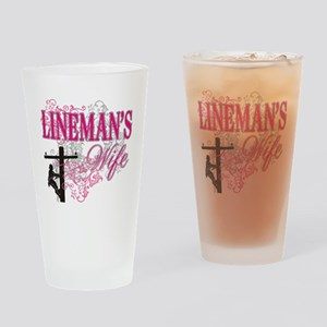 linemans wife3 white Drinking Glass