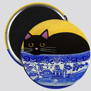 Black CAT in Blue Willow Bowl Folk ART Magnet