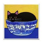 Black CAT Blue Willow Bowl Folk Painting Art Tile