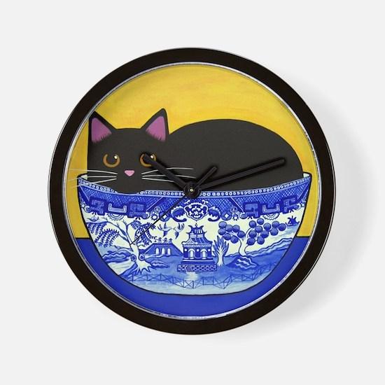 Black CAT Blue Willow Bowl Folk ART Wall Clock