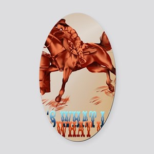 Barrel Horse lettered PosterP Oval Car Magnet