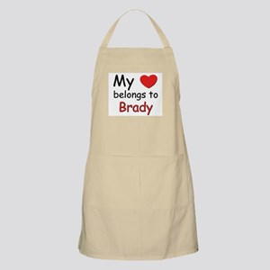 My heart belongs to brady BBQ Apron
