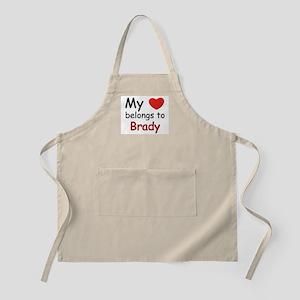 My heart belongs to brady BBQ Apron