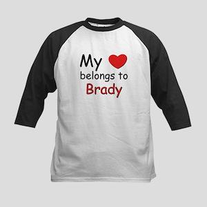 My heart belongs to brady Kids Baseball Jersey