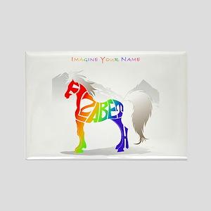 Elizabeth rainbow horse Rectangle Magnet
