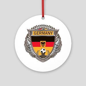 German Soccer Gym Bag Round Ornament