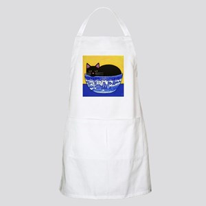 Black CAT Blue Willow Bowl ART Apron