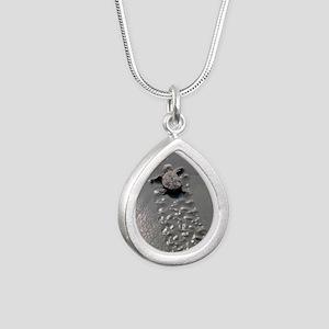 Baby Turtle Silver Teardrop Necklace