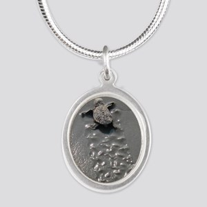 Baby Turtle Silver Oval Necklace