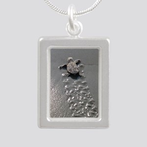 Baby Turtle Silver Portrait Necklace