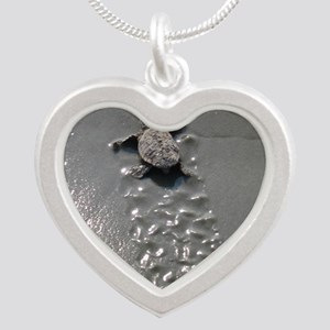 Baby Turtle Silver Heart Necklace