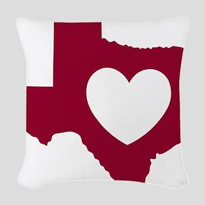 heart_maroon Woven Throw Pillow